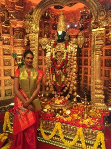 Anjana at the Annamyya Paataku Pattabhishekham TV shoot set in Hyderabad on march 30 2016 where she sang an Annamacharya Kruti song